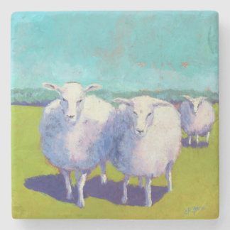 Two Sheep In Field Stone Coaster