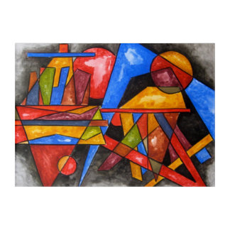 Two Ships-Abstract Art Geometric Handpainted