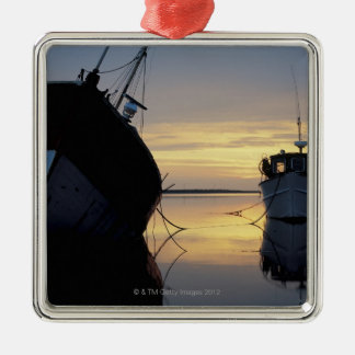 two ships anchored at sunset christmas ornament