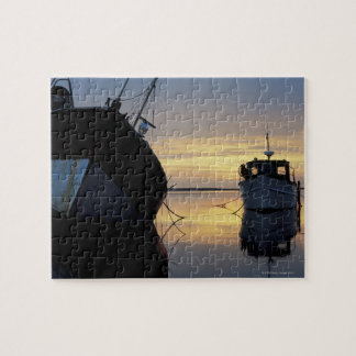 two ships anchored at sunset jigsaw puzzle