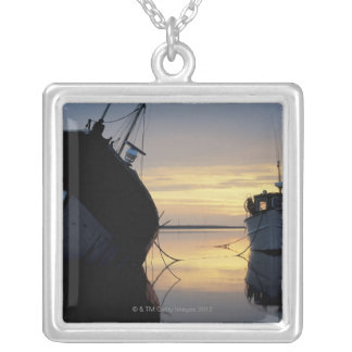 two ships anchored at sunset silver plated necklace