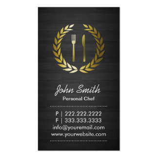 Two-side Dark Wood Background Personal Chef Business Card