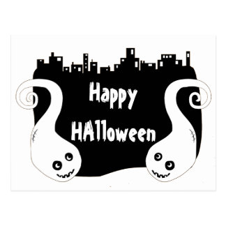 Two side ghosts Halloween postcard