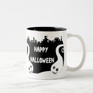Two side smiling ghosts Halloween mug