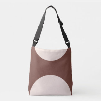 Two sided abstract art print pink on brown crossbody bag