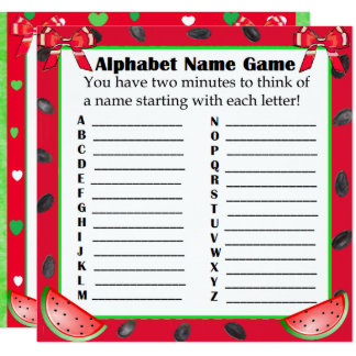 Two Sided Baby Shower Games Watermelon Themed Card