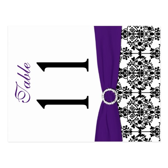 Two-sided Black, White, Purple Damask Table Number Postcard