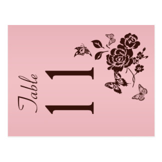 Two Sided Blush Pink and Brown Table Number Postcard