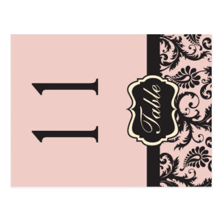 Two Sided Blush Pink and Gray Damask Table Number Postcard