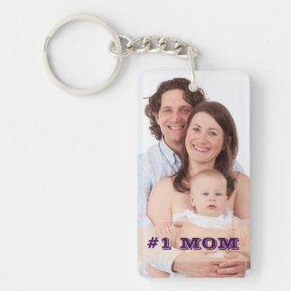 Two Sided Custom Photo #1 MOM Mother Gift Double-Sided Rectangular Acrylic Key Ring