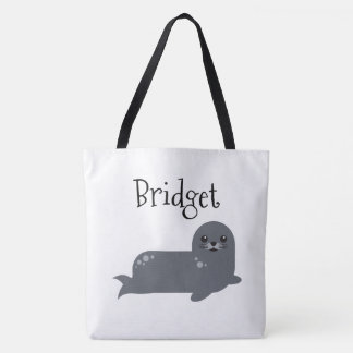 Two Sided Cute Seal Personalized Beach Bag