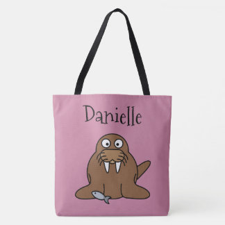 Two Sided Cute Walrus Personalized Beach Bag