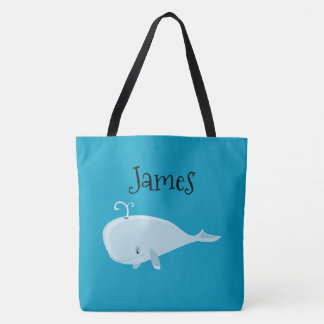 Two Sided Cute Whale Personalized Beach Bag
