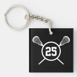 Two-sided Lacrosse Custom number keychain