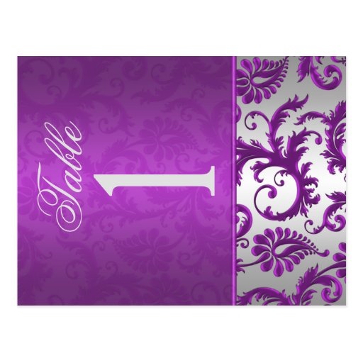 Two Sided Silver and Purple Damask II Table Number Postcards