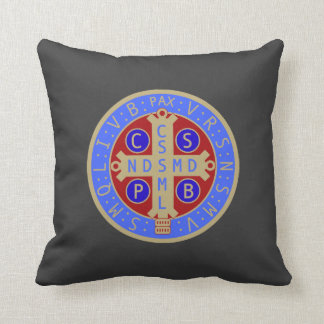 Two-Sided St. Benedict Medal Pillow Throw Cushions