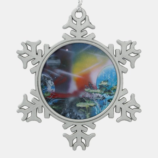 two sides planet scenes spacepainting pewter snowflake decoration