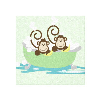 Two Silly Monkeys in a Tub Canvas Art Print Gallery Wrap Canvas