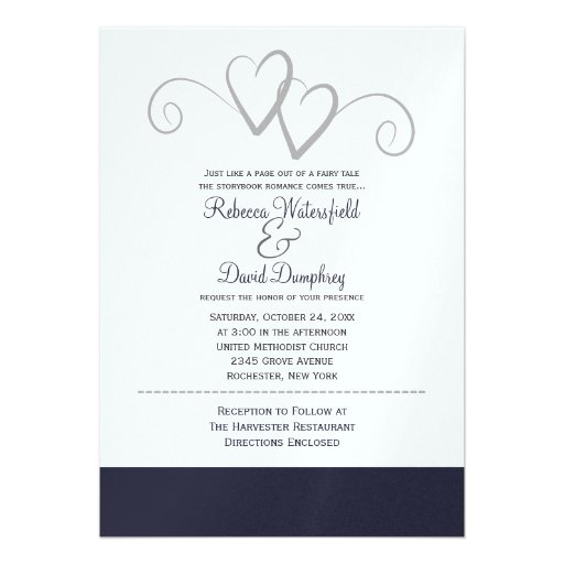 Two silver and navy blue hearts wedding invitation 13 cm x for Navy and silver wedding invitations uk