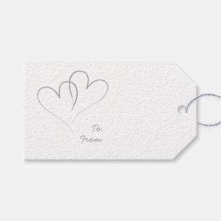 Two Silver Hearts intertwined Gift Tags