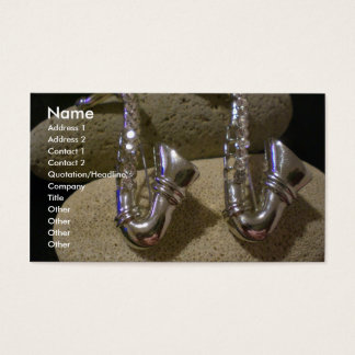 Two silver Saxophones on stone Business Card