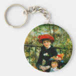 Two Sisters (On the Terrace) by Pierre Renoir Basic Round Button Key Ring