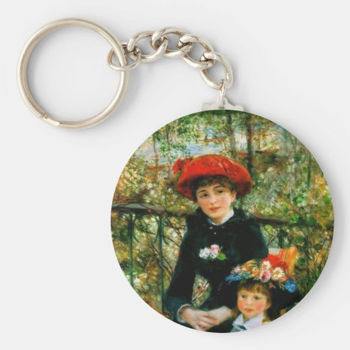 Two Sisters On the Terrace by Renoir Basic Round Button Key Ring