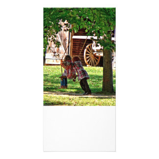 Two Sisters Playing on Swing Custom Photo Card