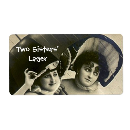 Two Sisters Umbrella Beer Home Canning Brew Labels