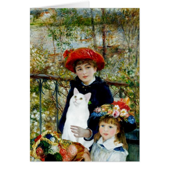 Two Sisters - White short haired cat Card