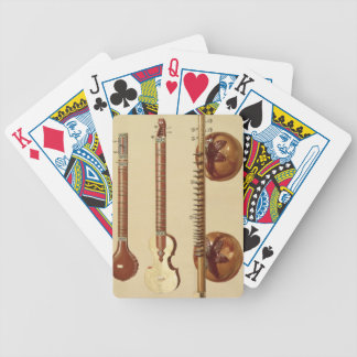 Two sitars and a rudra vina, Indian, from 'Musical Bicycle Playing Cards