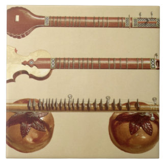 Two sitars and a rudra vina, Indian, from 'Musical Large Square Tile