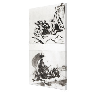 Two sketches for The Raft of the Medusa, c.1819 Canvas Print