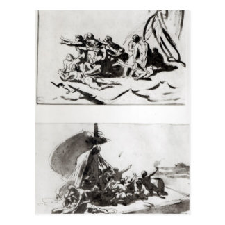 Two sketches for The Raft of the Medusa, c.1819 Postcard