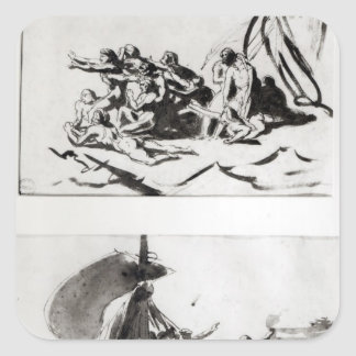 Two sketches for The Raft of the Medusa, c.1819 Square Sticker