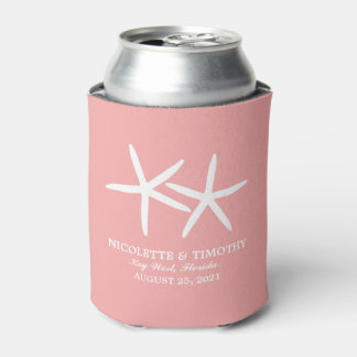 Two Skinny Starfish | Pink Wedding Can Cooler