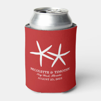 Two Skinny Starfish | Red Wedding Can Cooler