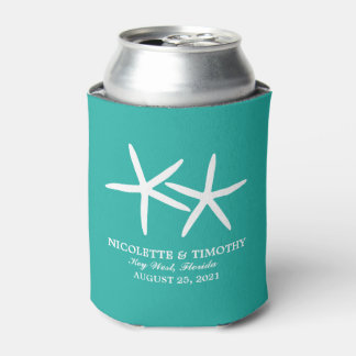 Two Skinny Starfish | Teal Wedding Can Cooler