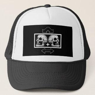 Two Skulls -Back To Back Black & White -Arrows Trucker Hat