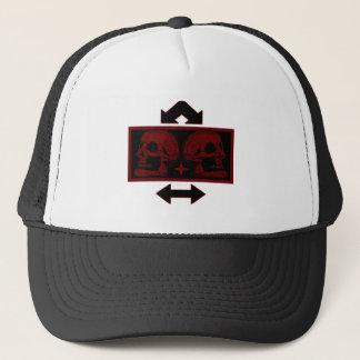 Two Skulls -Back To Back Dark Red -Arrows 2 Trucker Hat