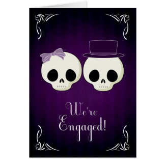 Two Skulls for Gothic Wedding Announcement Greeting Card