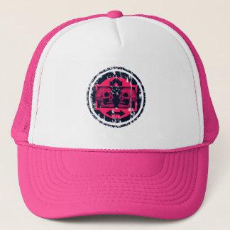 Two Skulls - Neon Pink- Arrows -Distressed Logo Trucker Hat