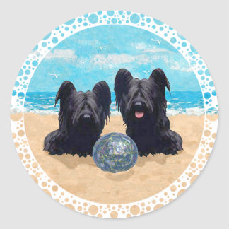 Two Skye Terriers at the Beach Round Sticker