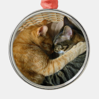 Two Sleeping Tabby Cats Cuddling Christmas Ornament
