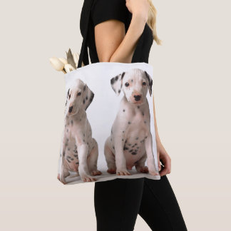 Two Small Black And White Dalmatian Puppies Tote Bag