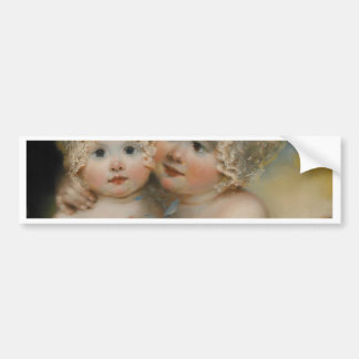 Two small Girls with Bonnets Bumper Stickers