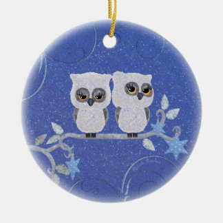 Two small white owls christmas ornament