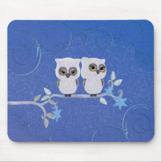 Two small white owls mouse mat
