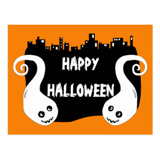Two smiling ghosts Halloween postcard