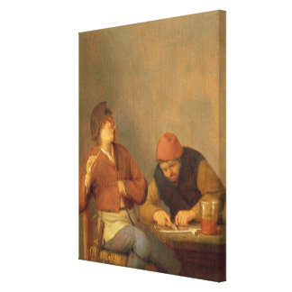 Two Smokers in an Interior, 1643 Canvas Print